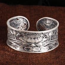 999 Silver colour Flower Bangle New Fashion lotus Adjustable Size Original Sterling Silver colour Bangle for Women men bracelet