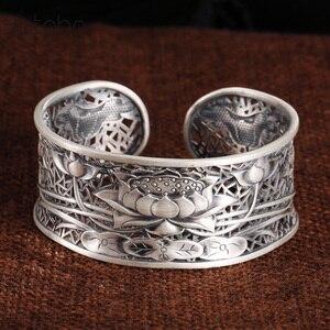 Image 1 - 999 couleur argent fleur bracelet nouvelle mode lotus taille réglable Original en argent Sterling couleur bracelet pour femmes hommes bracelet