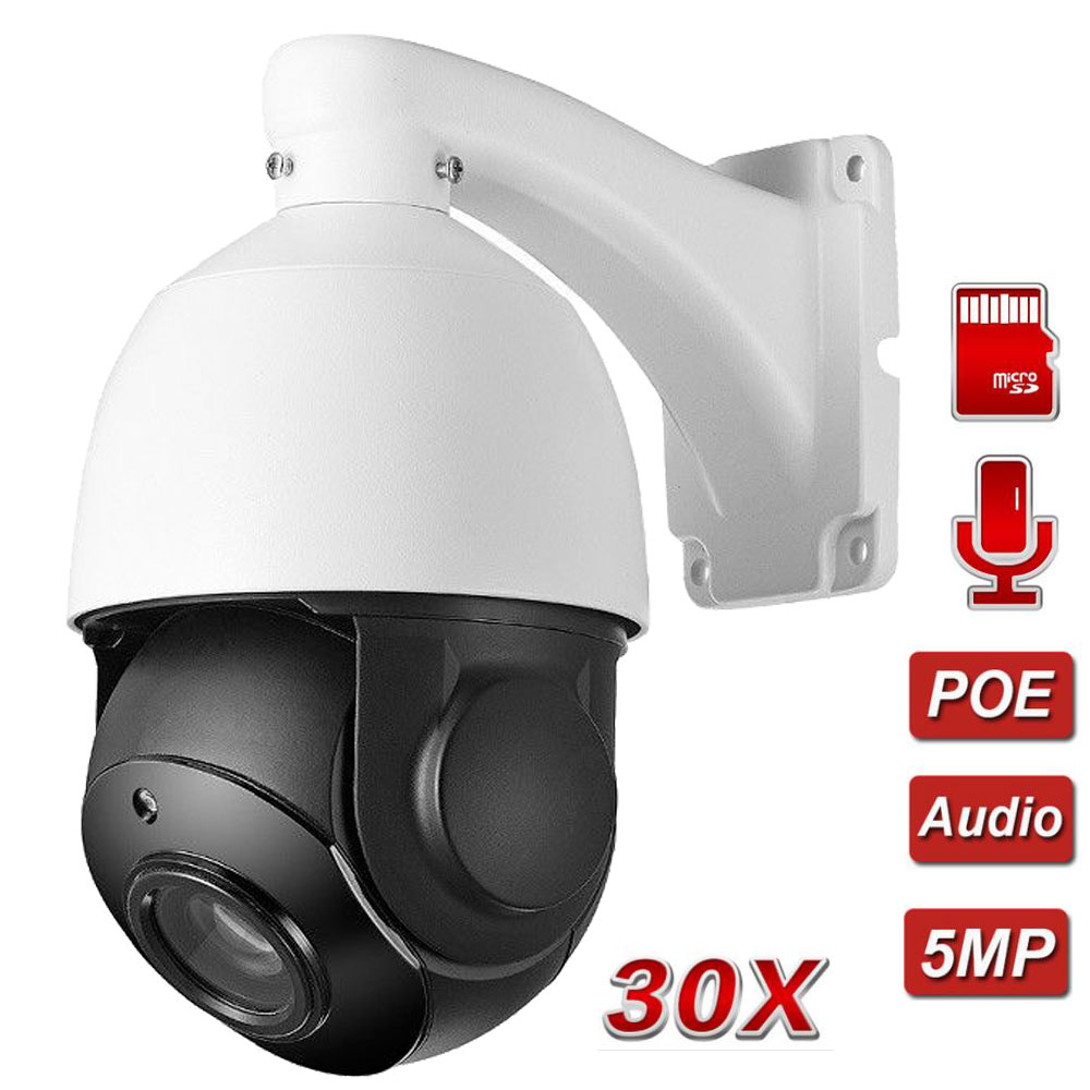 5MP POE PTZ IP Camera Outdoor Speed Dome Audio 128GB SD Card Security Camera Pan Tilt 30X Digital Zoom Network CCTV Surveillance