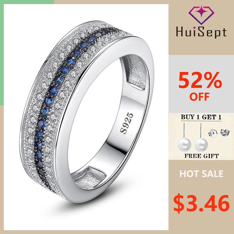 HuiSept Fashion 925 Silver Jewelry Ring Sapphire Zircon Gemstones Ornament Rings For Female Wedding Promise Party Gift Wholesale