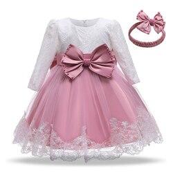 Модное зимнее платье для девочек с длинным рукавом, белые платья для крещения, платье для девочек 1 год, детское кружевное платье для крещени...