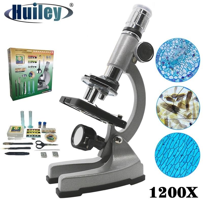 1200X Illuminated Present Microscope Zoom Monocular Biological Microscope Present Gift Educational Toy Microscope Metal Body