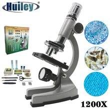 1200X Illuminato Presente Microscopio Zoom Monoculare Microscopio Biologico Presente del Regalo Del Giocattolo Educativo Microscopio Corpo In Metallo
