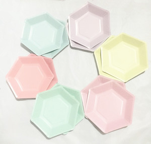 Image 4 - 60pcs Pastel Lilac Hexagon Party Paper Plates Baby Shower Birthday Wedding Party Supplies Disposable Tableware 6 Colors