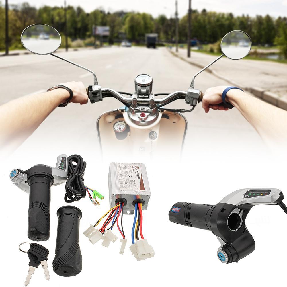 24V 500W Motor fırçalanmış denetleyici gaz büküm kavrama elektrikli bisiklet bisiklet için gaz sapları standart 7/8 inç kolu çubuklar