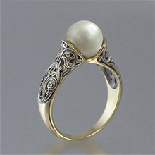 Pearl Ring Jewellery Vintage Engraved Punk Artificial Women for A Gift To Woman Jewelry Carved 2019