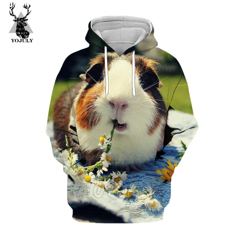 Hot Sale Lovely Guinea Pig Hoodies Fashion Men's Sweatshirt 3D Animal Kawaii Pet Hoody Hip Hop O-neck Long Sleeve Streetwear Top