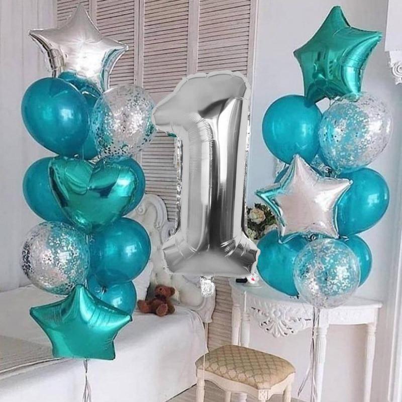 Tiffany azul prata baloon aniversário festa de aniversário decoração balões menino menina confetes balões aniversário deco crianças adulto