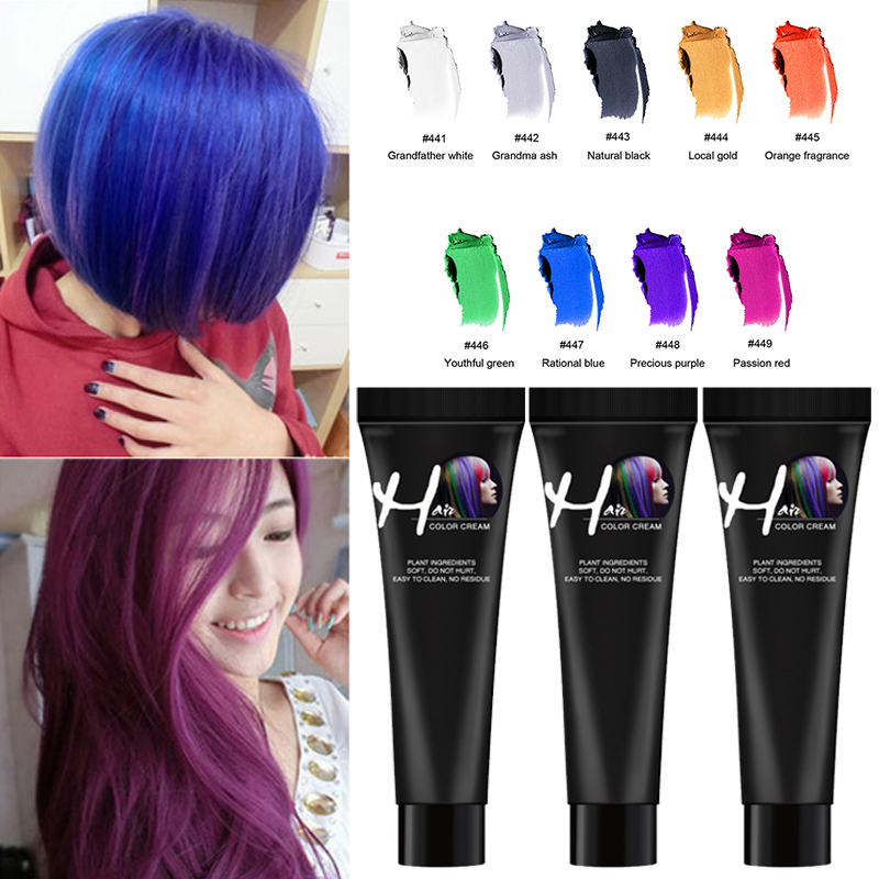 Zation 9 Colors One-time Hair Color Dye Temporary Non-toxic DIY Grandma Grey Hair Color Washable One-time Hair Dye