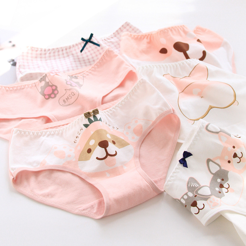 SP&CITY Lovely Cartoon Corgi Dog Pattern Underwear For Women Cotton Menstrual Panties Soft Girls Student Briefs Ladies Lingerie