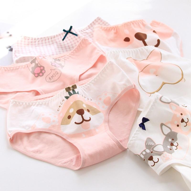 SP&CITY Lovely Cartoon Corgi Dog Pattern Underwear For Women Cotton Menstrual Panties Soft Girls Student Briefs Ladies Lingerie
