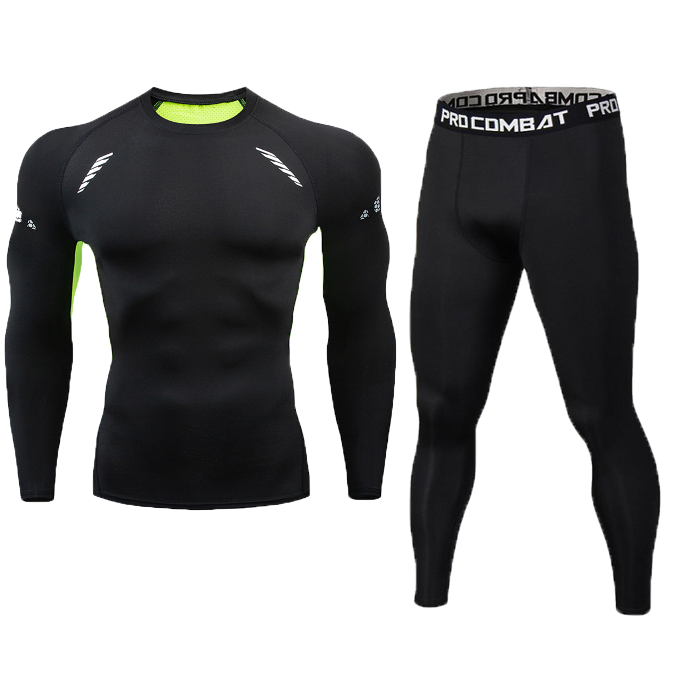 running - Brand 2pcs / sets men suit rashguard male kit MMA compression clothing male long-sleeved t-shirt + leggings tracksuit men