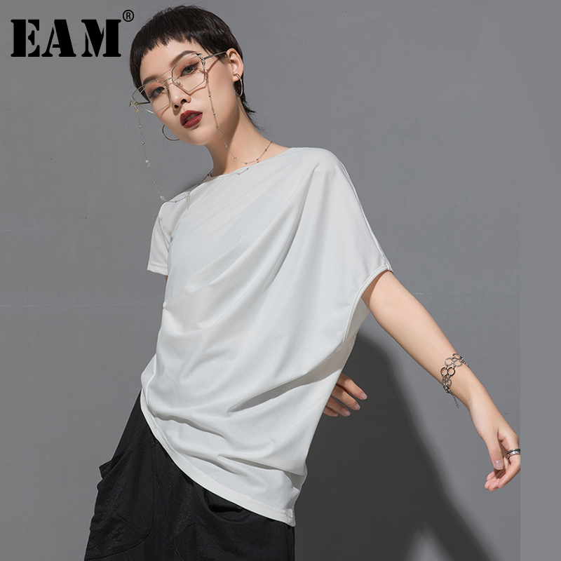 [EAM] 2020 New Spring Summer Round Neck Short Sleeve Black Irregular Fold Pleated Irregular T-shirt Women Fashion Tide JT616 1