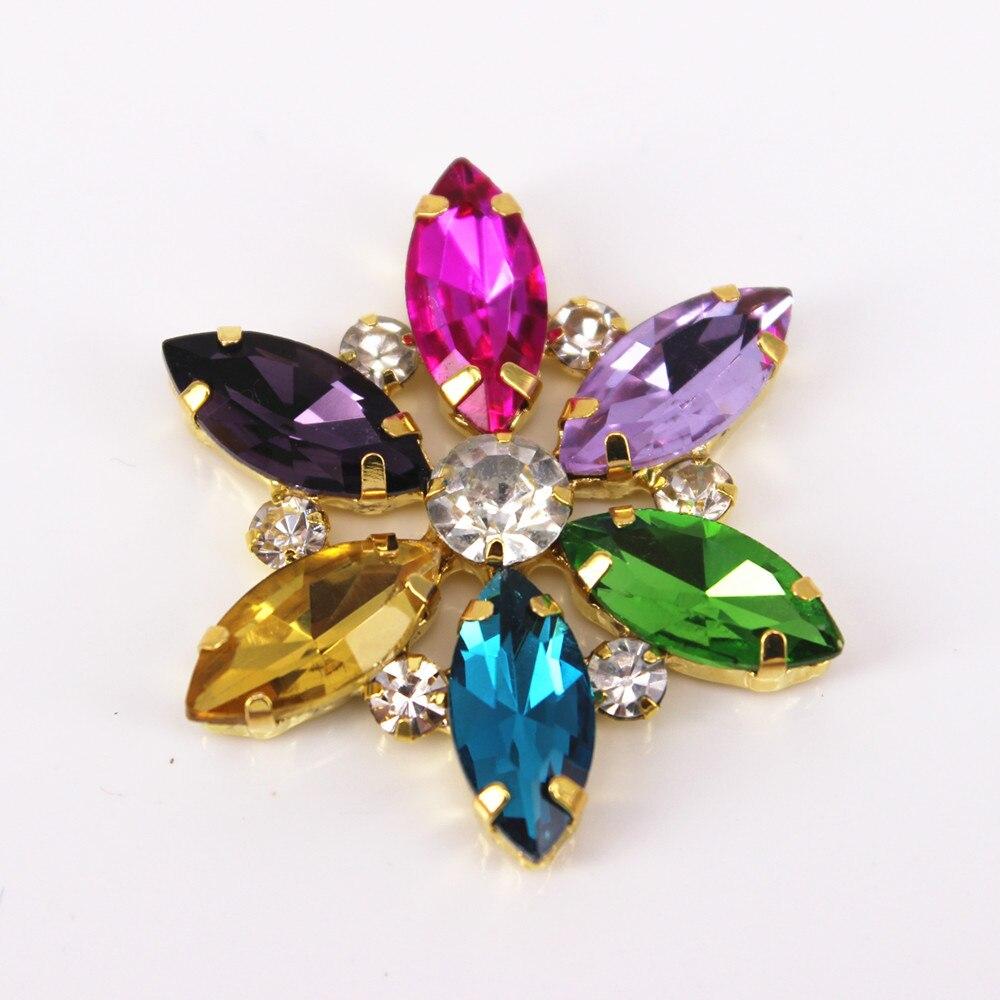3.5x3.5cm 1 Pcs Gold Base Clear Crystal Rhinestones Sewing On Rhinestone Applique DIY Wedding Evening Dress