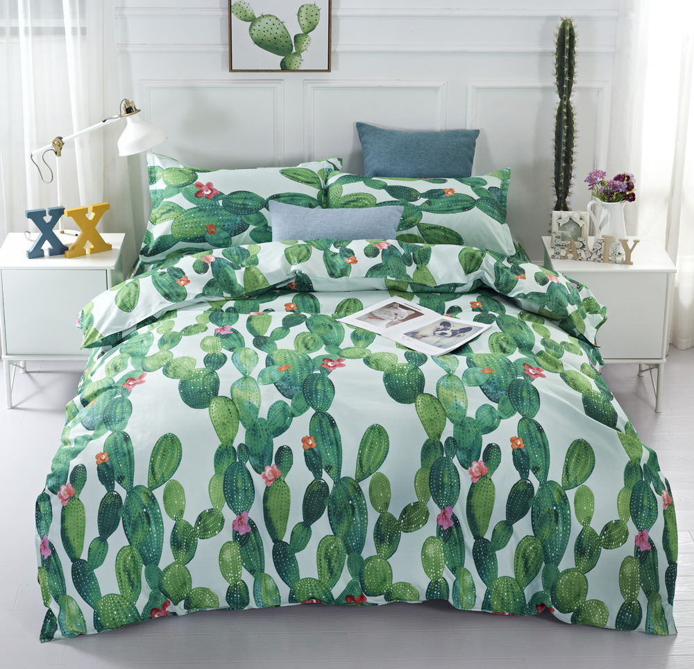 3D Green Plant Two-piece Cactus Bedding Set  Explosions Watercolor Flower Home Textile Beddingset Single Bed Duvet Cover