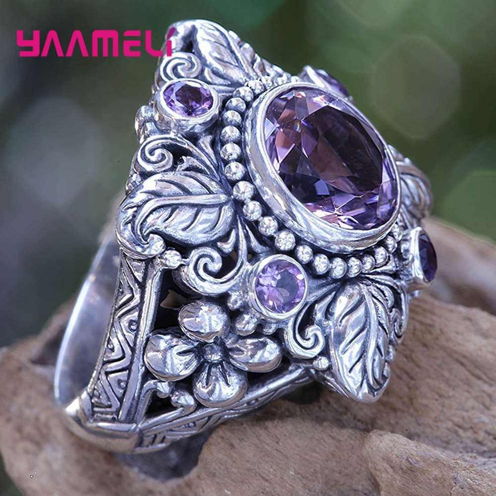 Asli 925 Sterling Perak Klasik Besar Lebar Mewah Hollow Bunga Cubic Bulat Berwarna Merah Muda Kristal Cincin untuk Wanita Istri Fashion Perhiasan