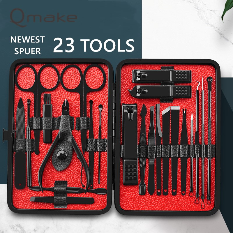 Qmake Super Complete 23 Piece Manicure Set Nail Kit Nail Art Tools Manicure Sets Pedicure Care Ingrown Clipper Pusher Nail File