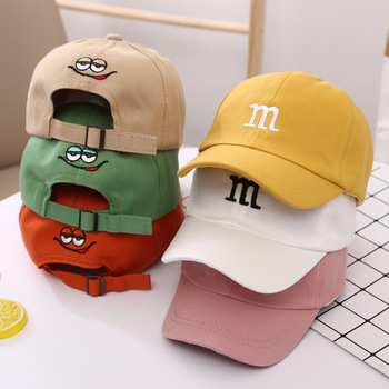 Children's Kid Baseball Cap for Girls Boy Hats Sunscreen Baby Hat Hip Hop M Letter Embroidered Cute Kids Caps 1-6Y 1