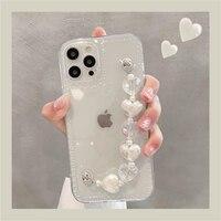 Funda trasera suave y transparente para iphone, carcasa con cadena para la muñeca con corazones de amor, para iphone 12, 11 Pro, Max, MiNi, XR, X, XS, 7, 8 plus, 6S, SE, 2020