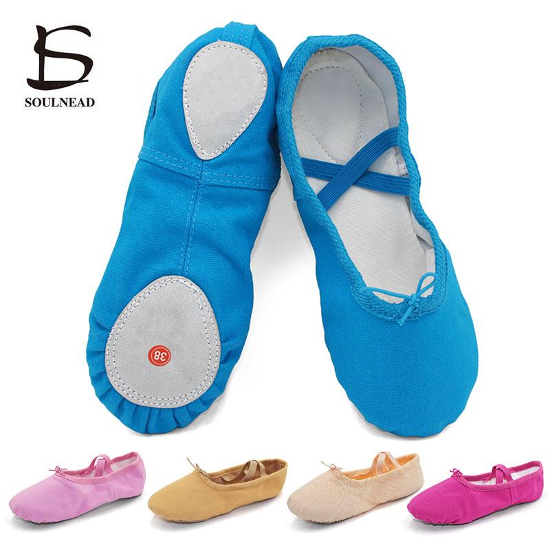 Ballet Shoes Girls Kids Jazz Dance Shoes Cloth Flat Yoga Ballet Slippers Blue Pink Children Women Dance Sneakers Size 24 44