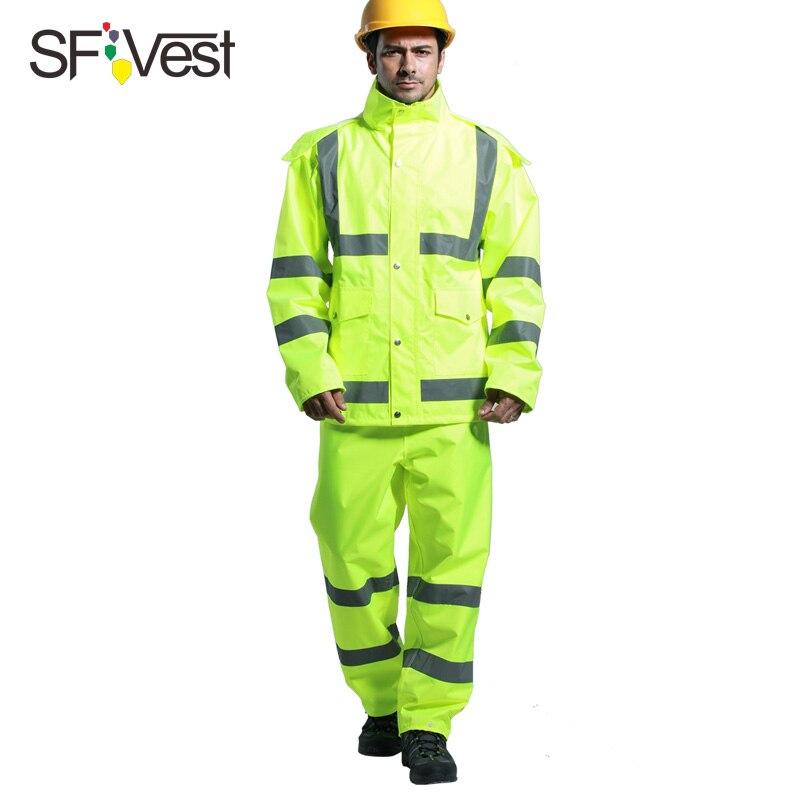 SFVest высокая видимость светоотражающий костюм дождевика утолщенная светящаяся безопасность