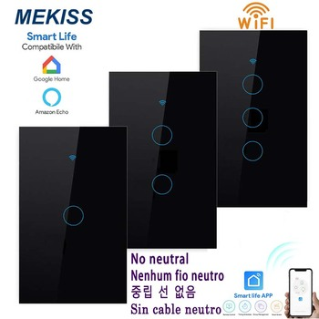 WIFI smart touch switch supports APP life remote control US standard 1 \ 2 3gang single fire wire light