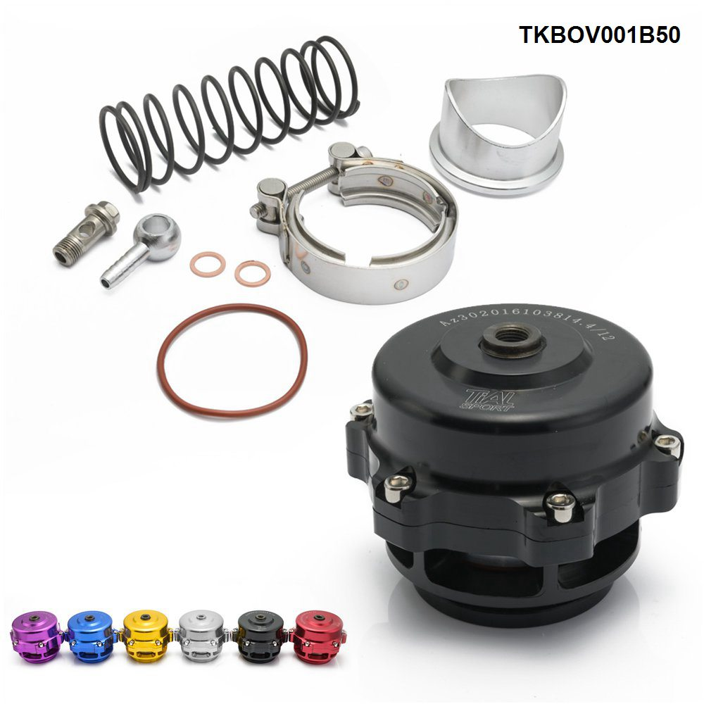 Universal Jdm 50mm V Band Blow Off Valve BOV Q Typer w/ Weld On Aluminum Flange TKBOV001B50