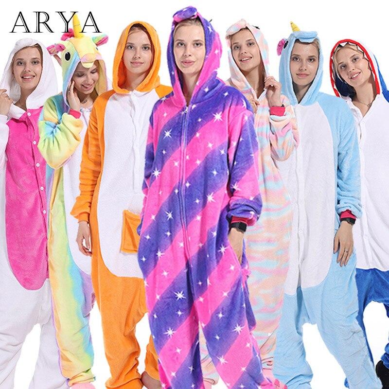 Flannel Winter Pajama Sets Women Sleepwear Unicorn Panda Stitch Onesies For Adults Animal Pajamas Cosplay Unisex Homewear