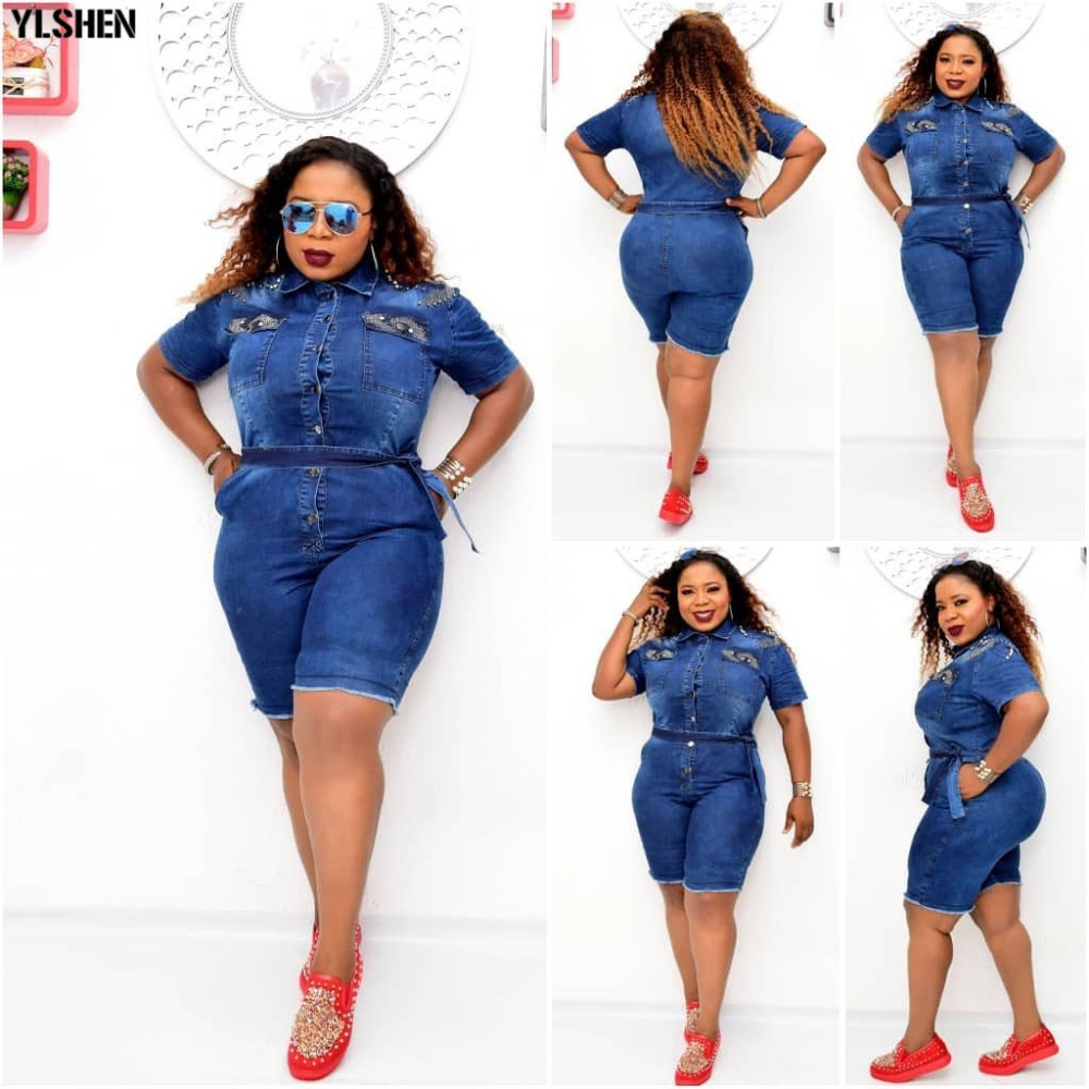 African Dresses For Women Denim Jumpsuit African Clothes Africa Dress Dashiki Ankara Style Mom Jeans Plus Size Africa Clothing 04