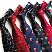 2019 New Classic 8cm Christmas Ties Men Santa Claus Tree Gravatas jacquard Woven Necktie Stripes Neckwear Neck