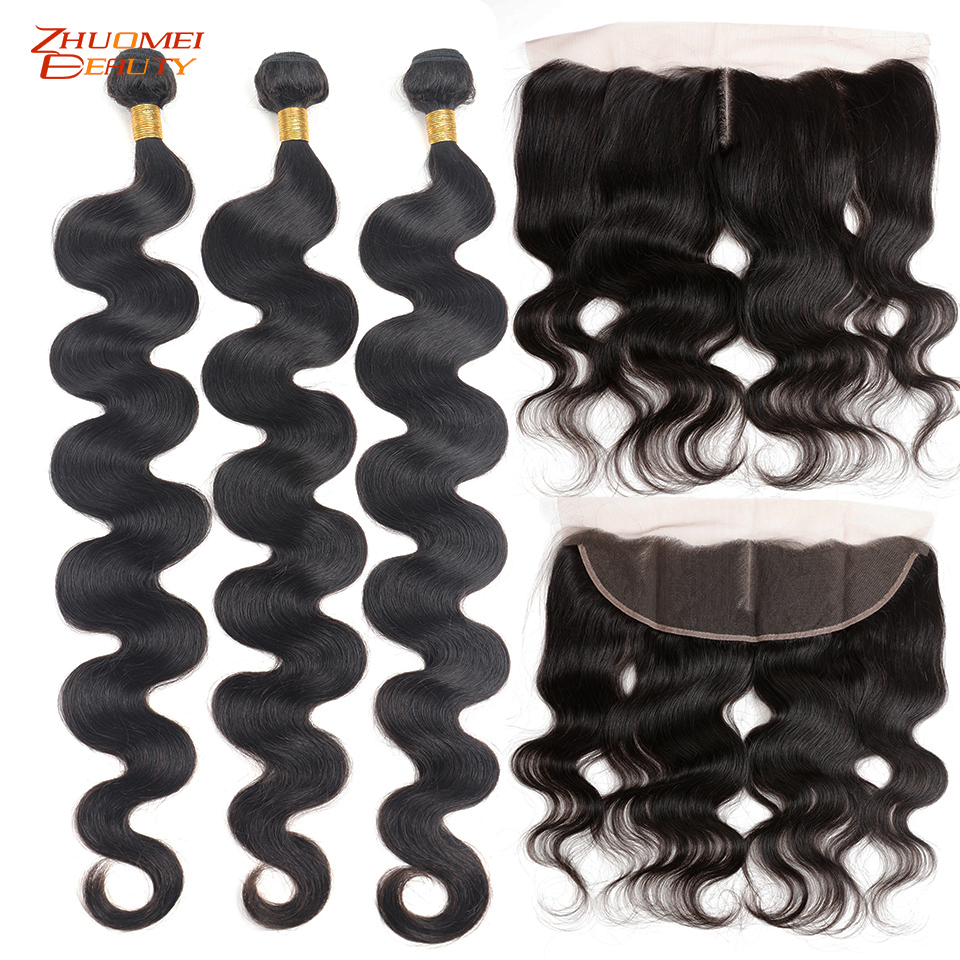 8-30 Inch Bundles With Frontal Brazilian Body Wave 3 Bundles With Frontal Closure Human Hair Bundles With Lace Frontal Remy Hair