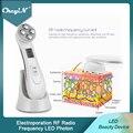 Мезотерапия Электропорация RF радиочастотный светодиодный фотон для ухода за кожей косметическое устройство для лифтинга лица морщины уда...