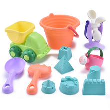 Soft Silicone Beach Toy Children Kids Baby Bath Toy Bucket Tool Rake Hourglass O