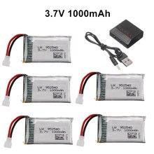 3.7V 1000mAh 952540 Lipo Bateria + Carregador para Syma X5 X5C X5SC X5SW TK M68 MJX X705C SG600 KY601 Drone RC Quadcopter Peça De Reposição