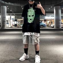 T shirt uomo tshirt high street )ionevole ritratto stampa gangster sciolto scuro hip hop jump di uomo camicia a maniche corte trend