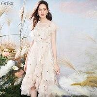 ARTKA 2020 Summer New Women Dress Elegant Irregular Ruffles Chiffon Dresses O Neck High Waist Sequins Long Dress Women LA20708X
