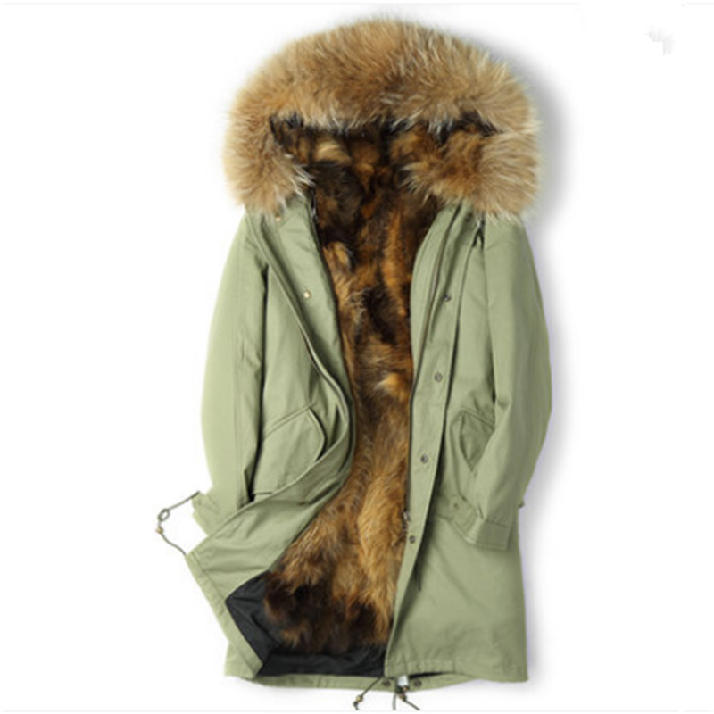 Real Fur Coat Parka Men Real Raccoon Fur Liner Long Coat Winter Jacket Plus Size Parkas Chaqueta Hombre JHLPKF-01 MY1153
