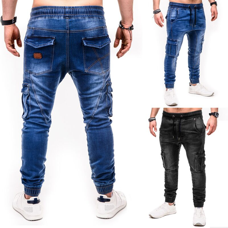Men Jeans 2019 Fashionable Casual Sports Personalized Wash Joggers Jeans Yoga Pants Denim