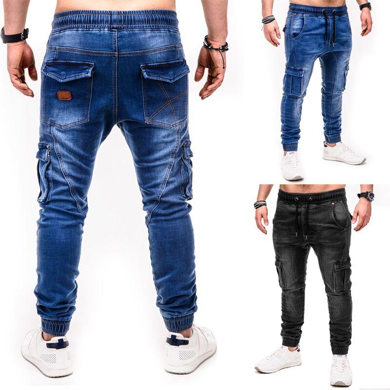Men Jeans 2019 Fashionable Casual Sports Personalized Wash Joggers Jeans Yoga Pants Denim