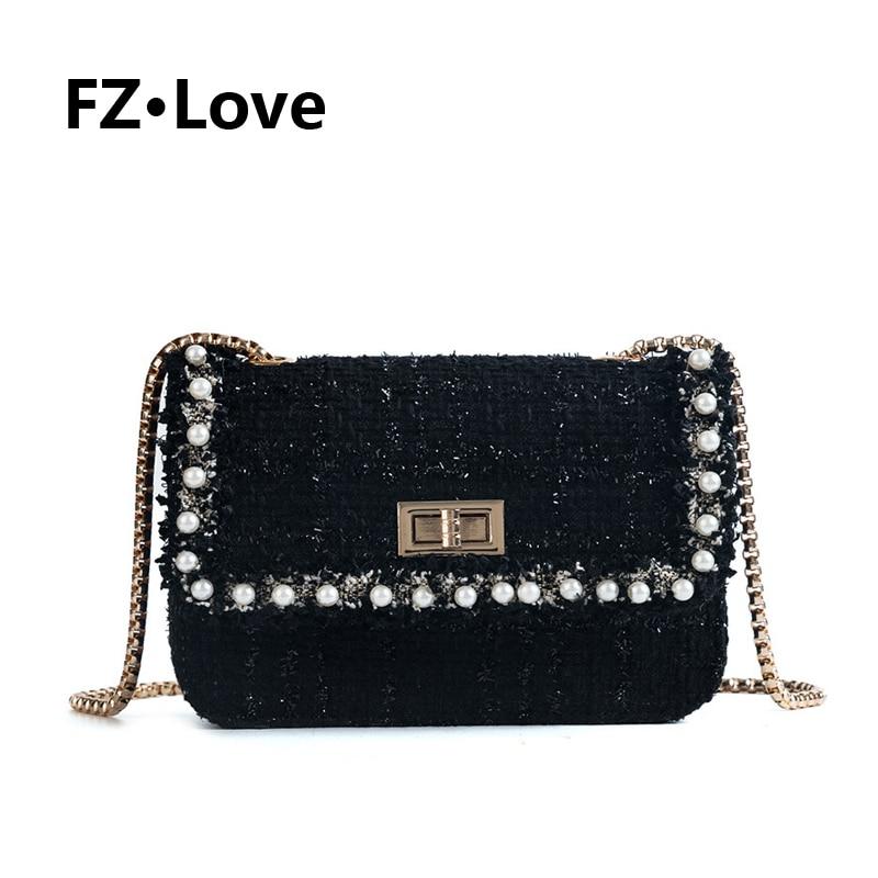 Твидовый Плетеный кошелек через плечо с жемчугом женская маленькая сумочка