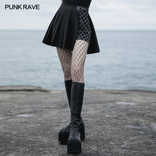 Short Skirt Punk-Style Stitching Pleated A-Line Plaid Women's RAVE Playful Daily Two-Piece