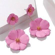 2020 Jewelry Big Acrylic Flower Earrings Blue Pink Earrings New Design Fashion Jewelry For Women Wedding Gifts