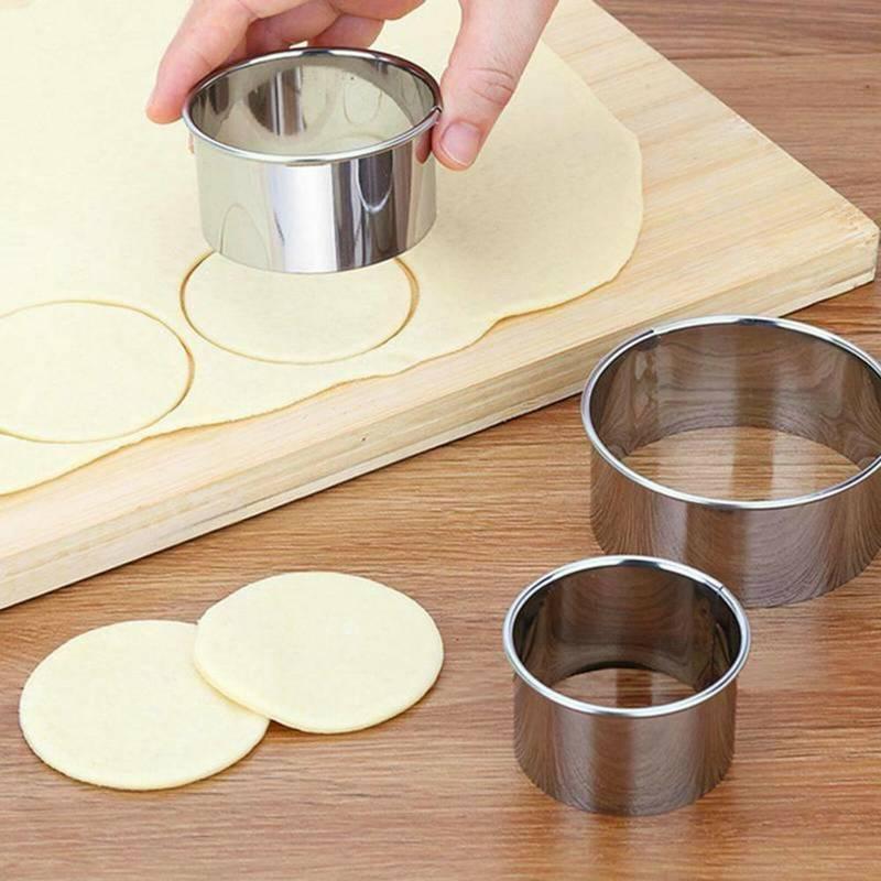5 sztuk foremka do wykrawania ciasteczek zestaw form koło ze stali nierdzewnej okrągły kształt herbatniki foremka do polewy na ciasto kuchnia DIY wypieki cukiernicze akcesoria do ciast