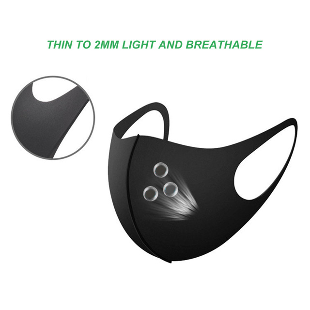 1pcs Nano-Polyurethane Black Mouth Mask Anti Dust Mask Activated Carbon Windproof Mouth-Muffle Bacteria Proof Flu Face Masks 4