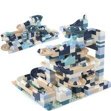 80-360 Uds bloque de carrera de mármol Compatible con bloques de construcción Duploed embudo deslizante bloques DIY ladrillos juguetes para niños