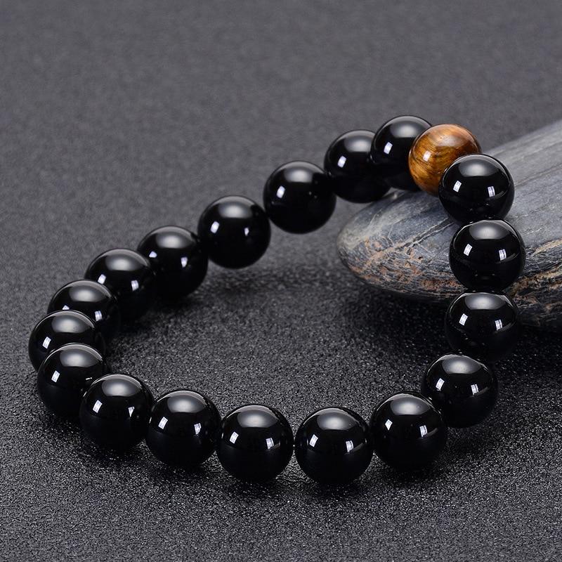 Natural Black Onyx And Stone Tiger Eye Beads Bracelet