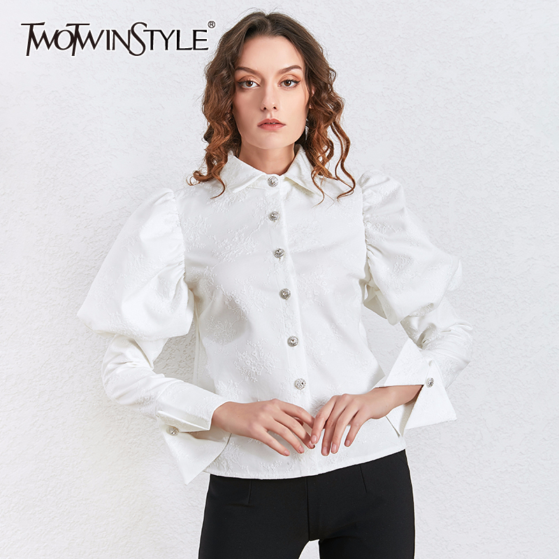 TWOTWINSTYLE Embroidery Floral Shirt Tops Female Puff Sleeve Long Sleeves Women's Blouse Fashion Clothes Korean 2020 Spring New