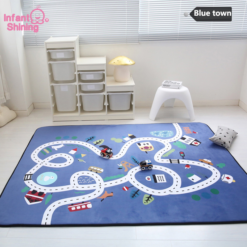 Tapis de jeu enfant tapis rampant bébé velours rebond lent tapis épaissi antidérapant tapis rampant décorer salon pour enfants