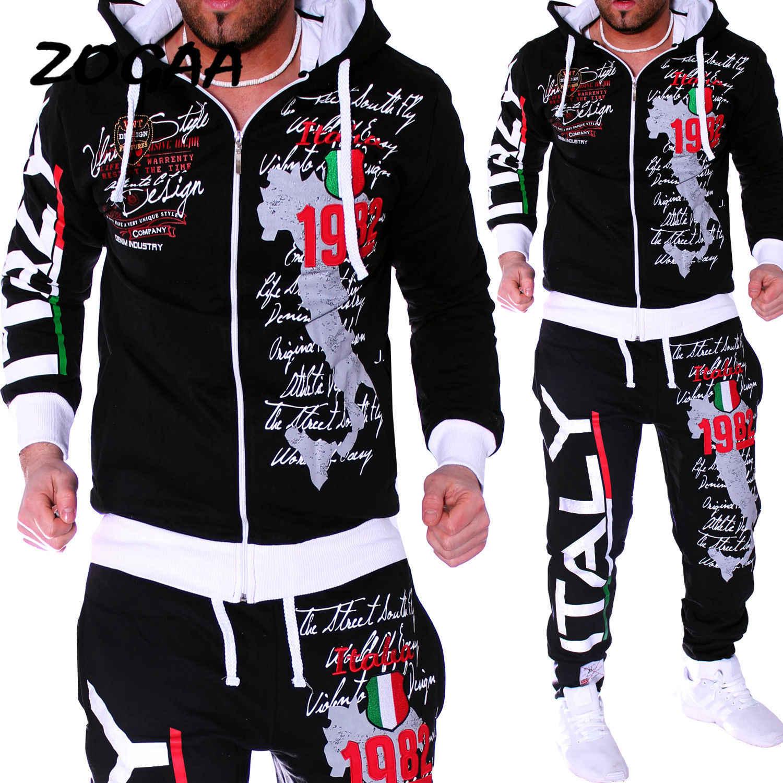 Zogaa primavera outono camisola com capuz jaqueta + joger moletom homem ternos de impressão 2 pcs treino masculino casual retalhos sportwear conjunto