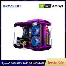 IPASON R5 3600/RTX 2060 6G Gaming Ordinateur De Bureau 500G SSD 16G de RAM BRICOLAGE L'ASSEMBLÉE LOL/PUBG JEU Haute Performance Bricolage PC